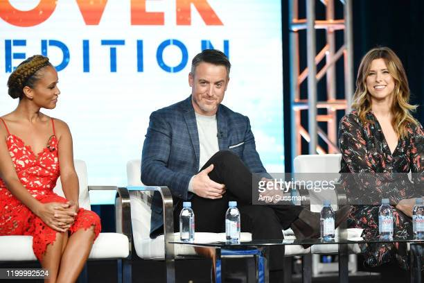 """Breegan Jane, Darren Keefe and Carrie Locklyn of """"Extreme Makeover: Home Edition"""" speak during the HGTV segment of the 2020 Winter TCA Press Tour at..."""