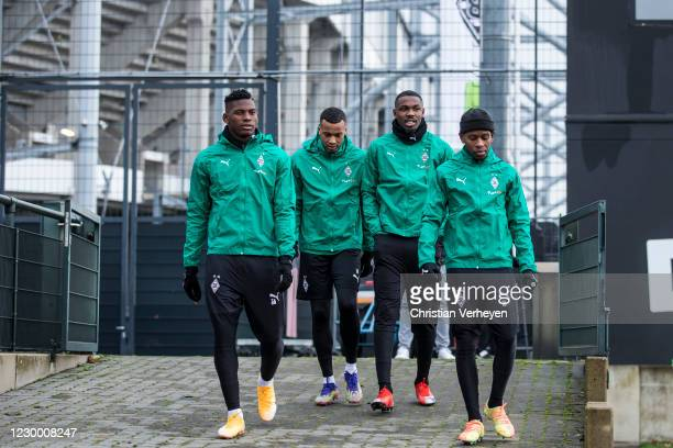Breel Embolo, Alassane Plea, Marcus Thuram and Ibrahima Traore are seen during a training session of Borussia Moenchengladbach ahead the Group B -...