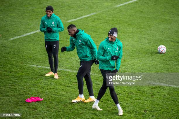 Breel Embolo and Denis Zakaria are seen during a training session of Borussia Moenchengladbach ahead the Group B - UEFA Champions League match...