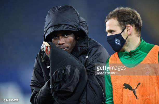 Breel Embolo and Tony Jantschke of Moenchengladbach react after during the Bundesliga match between DSC Arminia Bielefeld and Borussia...