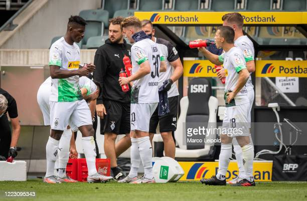 Breel Embolo Nico Elvedi and Stefan Lainer of Borussia Moenchengladbach during the Bundesliga match between Borussia Moenchengladbach and Hertha BSC...