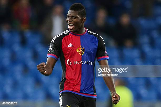 Breel Embolo of Basel celebrates his team's second goal during the UEFA Champions League qualifying round play off first leg match between FC Basel...