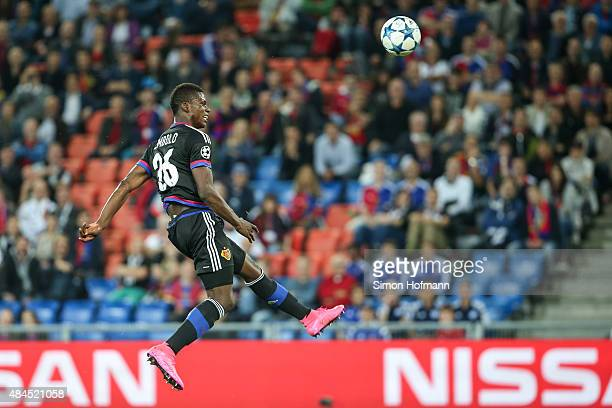 Breel Embolo of Basel tries to score with a header during the UEFA Champions League qualifying round play off first leg match between FC Basel and...