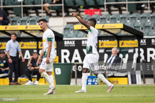 Breel Embolo of Borussia Moenchengladbach celebrate after he score his teams second goal during the Bundesliga match between Borussia...
