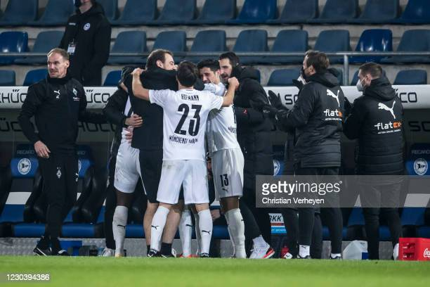 Breel Embolo of Borussia Moenchengladbach celebrate with team mates after he score his teams first goal during the Bundesliga match between DSC...