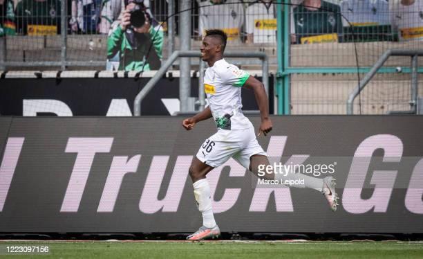 Breel Embolo of Borussia Moenchengladbach celebrates after scoring the 20 during the Bundesliga match between Borussia Moenchengladbach and Hertha...