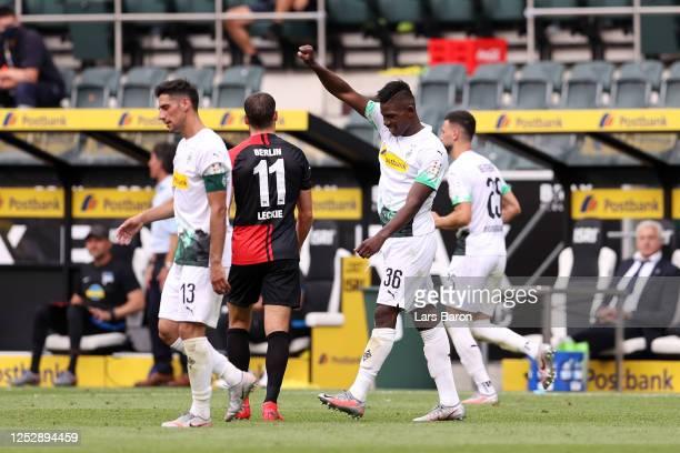 Breel Embolo of Borussia Moenchengladbach celebrates after scoring his team's second goal during the Bundesliga match between Borussia...