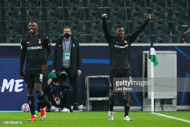 Breel Embolo of Borussia Moenchengladbach celebrates after scoring their team's third goal during the UEFA Champions League Group B stage match...
