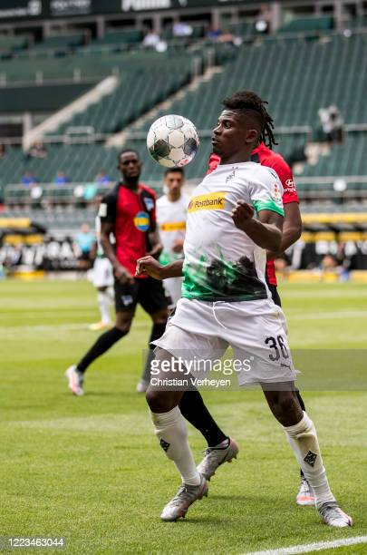Breel Embolo of Borussia Moenchengladbach in action during the Bundesliga match between Borussia Moenchengladbach and Hertha BSC at BorussiaPark on...