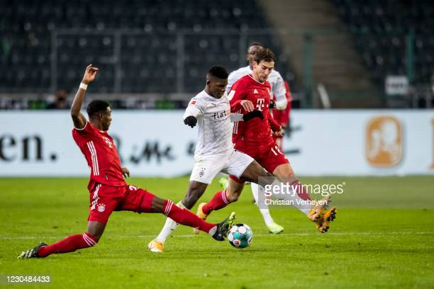 Breel Embolo of Borussia Moenchengladbach in action during the Bundesliga match between Borussia Moenchengladbach and FC Bayern Muenchen at...