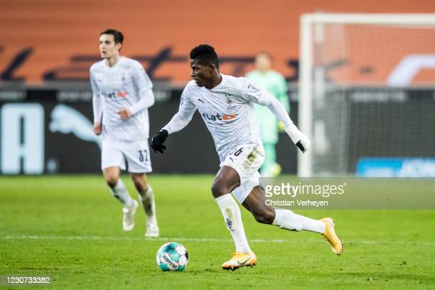 Breel Embolo of Borussia Moenchengladbach in action during the Bundesliga match between Borussia Moenchengladbach and Borussia Dortmund at...