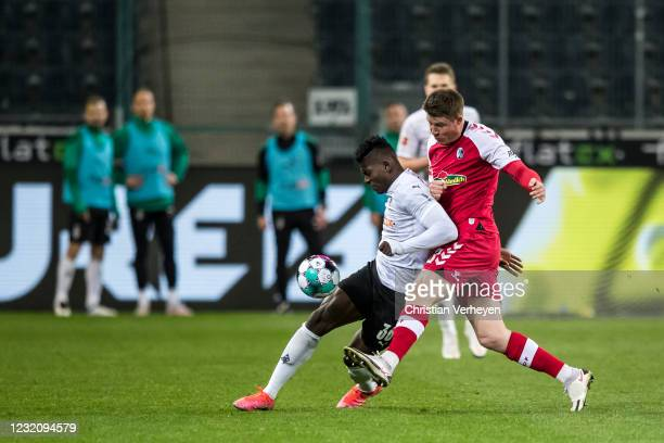 Breel Embolo of Borussia Moenchengladbach in action during the Bundesliga match between Borussia Moenchengladbach and SC Freiburg at Borussia-Park on...