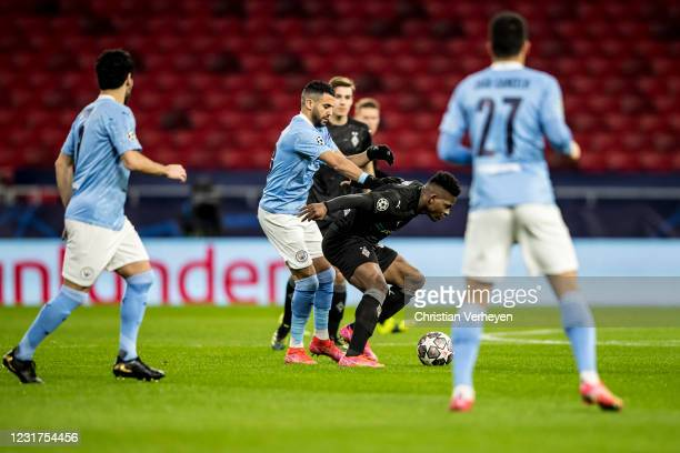 Breel Embolo of Borussia Moenchengladbach in action during the UEFA Champions League Round Of 16 Leg Two match between Manchester City and Borussia...