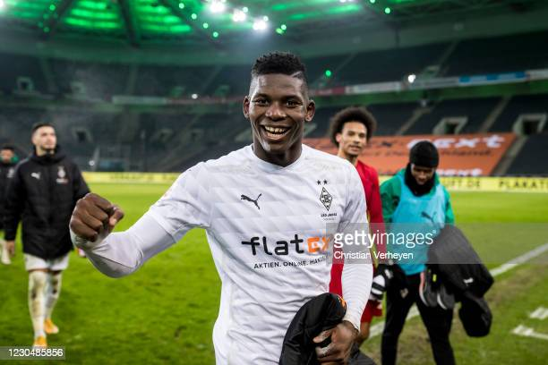 Breel Embolo of Borussia Moenchengladbach is seen after the Bundesliga match between Borussia Moenchengladbach and FC Bayern Muenchen at...