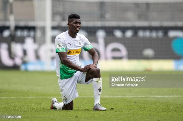 Breel Embolo of Borussia Moenchengladbach is seen during the Bundesliga match between Borussia Moenchengladbach and Hertha BSC at BorussiaPark on...
