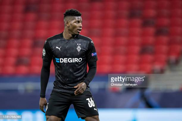 Breel Embolo of Borussia Moenchengladbach is seen during the UEFA Champions League Round Of 16 Leg Two match between Manchester City and Borussia...