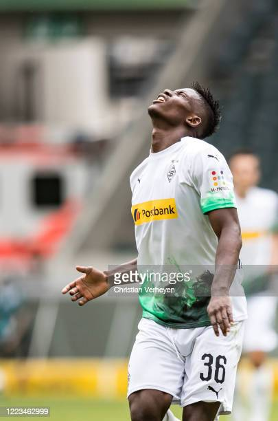 Breel Embolo of Borussia Moenchengladbach reacts during the Bundesliga match between Borussia Moenchengladbach and Hertha BSC at BorussiaPark on June...