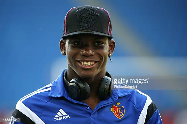 Breel Embolo of FC Basel looks on prior to the UEFA Champions League third qualifying round 2nd leg match between FC Basel 1893 and KKS Lech Poznan...