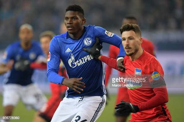 Breel Embolo of FC Schalke 04 and Mathew Leckie of Hertha BSC in action during the first Bundesliga match between Schalke 04 against Hertha BSC at...
