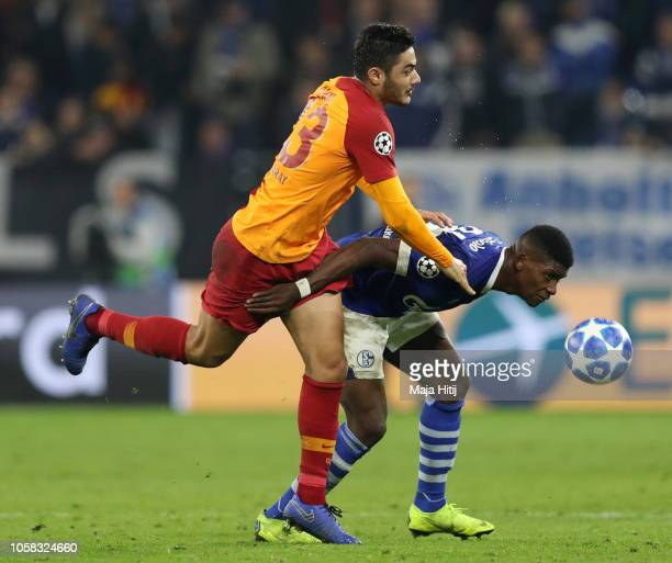 Breel Embolo of FC Schalke 04 is challenged by Ozan Kabak of Galatasaray during the Group D match of the UEFA Champions League between FC Schalke 04...