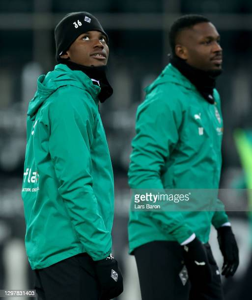 Breel Embolo of Gladbach looks on before during the Bundesliga match between Borussia Moenchengladbach and Borussia Dortmund at Borussia-Park on...
