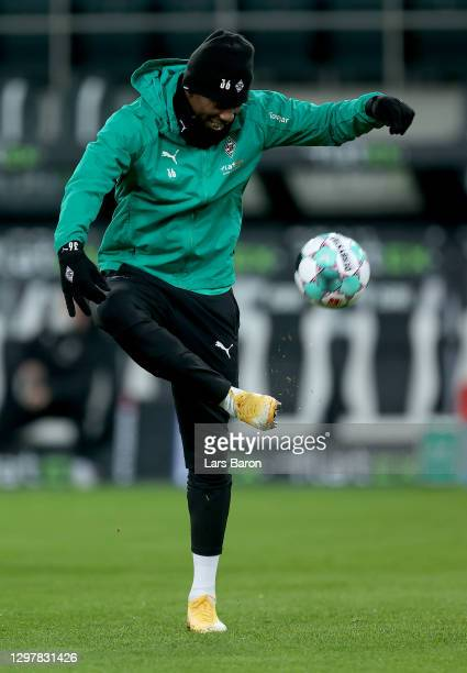 Breel Embolo of Gladbach warms up before during the Bundesliga match between Borussia Moenchengladbach and Borussia Dortmund at Borussia-Park on...