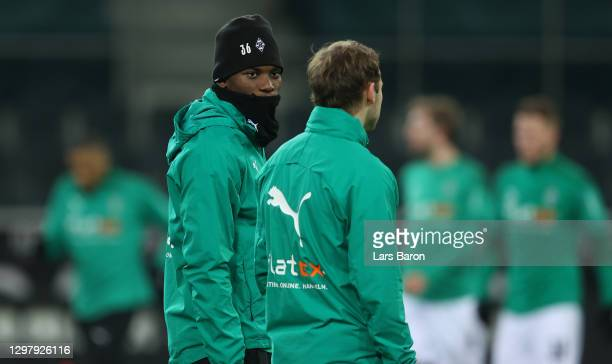 Breel Embolo of Moenchengladbach looks on prior to the Bundesliga match between Borussia Moenchengladbach and Borussia Dortmund at Borussia-Park on...