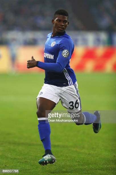 Breel Embolo of Schalke 04 in action during the DFB Pokal match between FC Schalke 04 and 1 FC Koeln at VeltinsArena on December 19 2017 in...