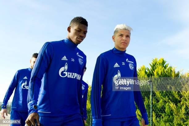 Breel Embolo of Schalke and Amine Harit of Schalke looks on during the FC Schalke 04 training camp at Hotel Melia Villaitana on January 03 2018 in...
