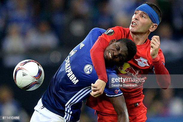 Breel Embolo of Schalke and Jonatan Soriano of Salzburg battle for the ball during the UEFA Europa League match between FC Schalke 04 and FC Salzburg...