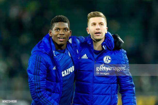 Breel Embolo of Schalke and Matija Nastasic of Schalke celebrate after winning the Bundesliga match between VfL Wolfsburg and FC Schalke 04 at...