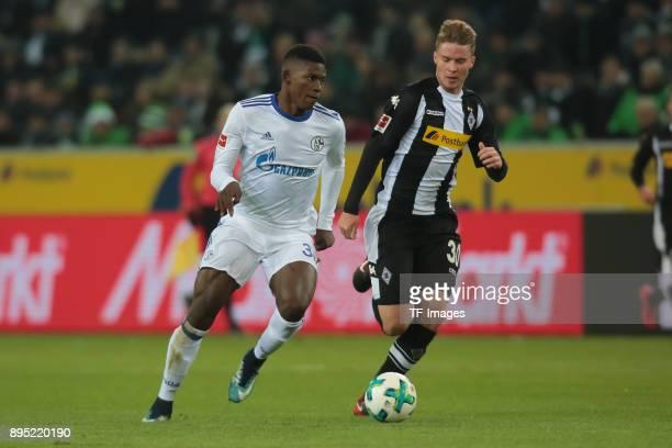 Breel Embolo of Schalke and Nico Elvedi of Moenchengladbach battle for the ball during the Bundesliga match between Borussia Moenchengladbach and FC...