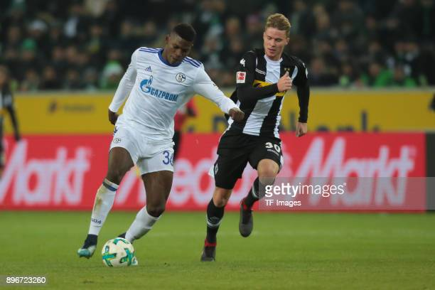 Breel Embolo of Schalke and Nico Elvedi of Moenchengladbach battle for the ball during the Bundesliga match between Borussia Moenchengladbach and FC...
