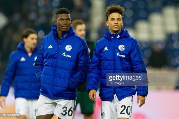 Breel Embolo of Schalke and Thilo Kehrer of Schalke look on during the Bundesliga match between FC Schalke 04 and FC Augsburg at VeltinsArena on...