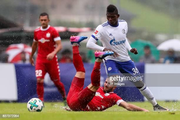 Breel Embolo of Schalke battle for the ball during the preseason friendly match between FC Schalke 04 and Neftchi Baku on July 26 2017 in Neunkirchen...