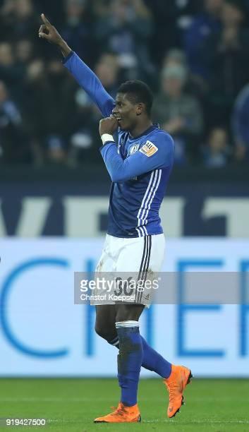 Breel Embolo of Schalke celebrates after he scored a goal to make it 20 during the Bundesliga match between FC Schalke 04 and TSG 1899 Hoffenheim at...
