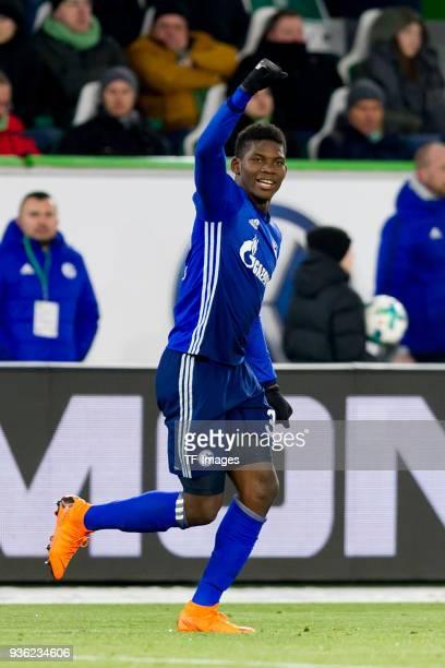 Breel Embolo of Schalke celebrates after Robin Knoche of Wolfsburg scored a own goal during the Bundesliga match between VfL Wolfsburg and FC Schalke...