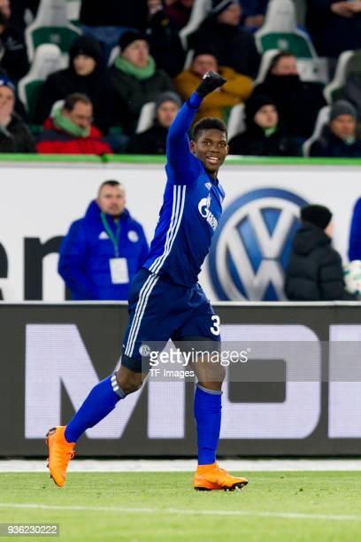 Breel Embolo of Schalke celebrates after scoring his team`s first goal during the Bundesliga match between VfL Wolfsburg and FC Schalke 04 at...