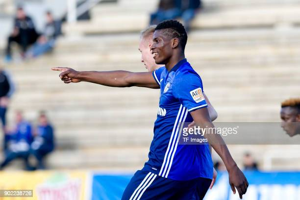 Breel Embolo of Schalke celebrates after scoring his team`s second goal during the Friendly match between FC Schalke 04 and KRC Genk at Estadio...