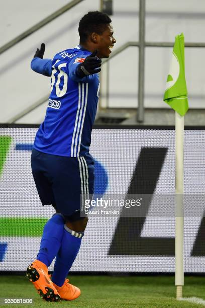 Breel Embolo of Schalke celebrates an own goal by Robin Knoche of Wolfsburg to make it 01 during the Bundesliga match between VfL Wolfsburg and FC...