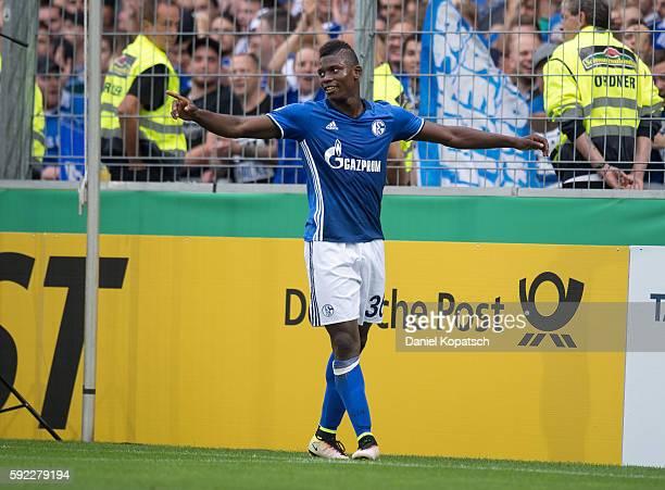 Breel Embolo of Schalke celebrates his team's second goal during the DFB Cup match between FC 08 Villingen and FC Schalke 04 at SchwarzwaldStadion on...
