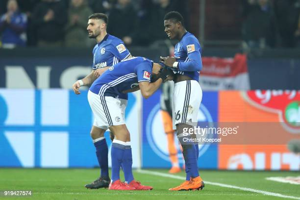 Breel Embolo of Schalke celebrates with Franco Di Santo of Schalke after he scored a goal to make it 20 during the Bundesliga match between FC...