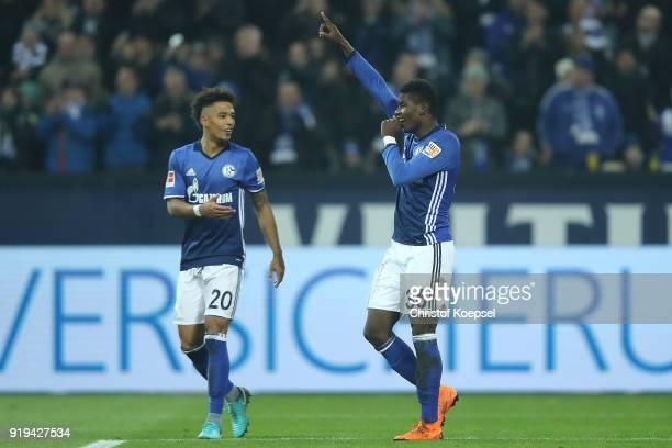 Breel Embolo of Schalke celebrates with Thilo Kehrer of Schalke after he scored a goal to make it 20 during the Bundesliga match between FC Schalke...