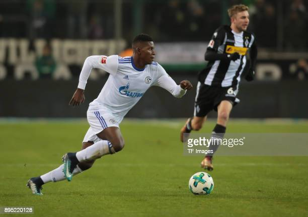 Breel Embolo of Schalke controls the ball during the Bundesliga match between Borussia Moenchengladbach and FC Schalke 04 at BorussiaPark on December...