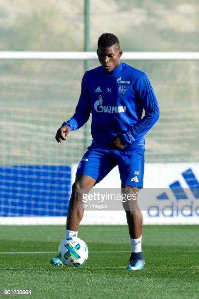 Breel Embolo of Schalke controls the ball during the FC Schalke 04 training camp at Hotel Melia Villaitana on January 03 2018 in Benidorm Spain