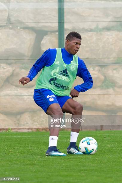 Breel Embolo of Schalke controls the ball during the FC Schalke 04 training camp at Hotel Melia Villaitana on January 06 2018 in Benidorm Spain
