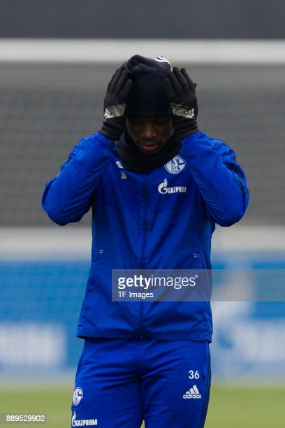 Breel Embolo of Schalke gestures during a training session at the FC Schalke 04 Training center on December 05 2017 in Gelsenkirchen Germany