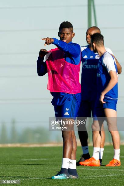 Breel Embolo of Schalke gestures during the FC Schalke 04 training camp at Hotel Melia Villaitana on January 04 2018 in Benidorm Spain