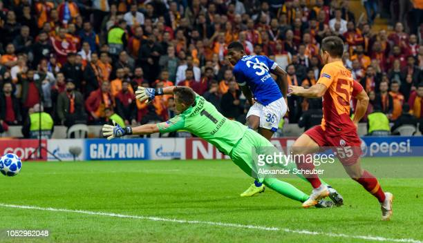 Breel Embolo of Schalke in action against Fernando Muslera of Galatasaray during the Group D match of the UEFA Champions League between Galatasaray...
