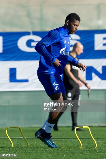Breel Embolo of Schalke in action during the FC Schalke 04 training camp at Hotel Melia Villaitana on January 04 2018 in Benidorm Spain